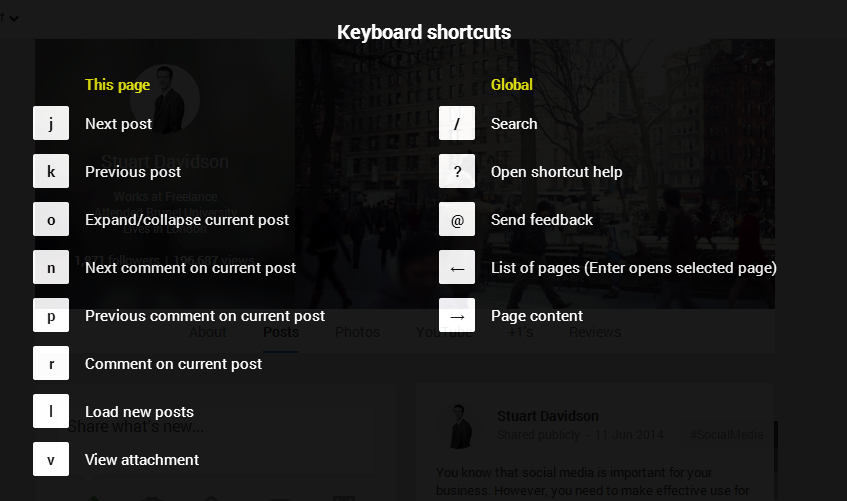 Google Plus for Business - keyboard shortcuts